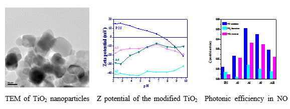 TiO2 surface functionalization with organic compounds